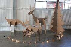 5ft tall Cardboard Christmas Deer Family by MettaPrints on Etsy