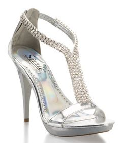 "Sparkle like the ""Biggest Little City"" in these platform t-strap sandals. Eight dazzling rhinestone strips divide to form the ""T"" and wrap the ankle to the closed back heel.  David's Bridal Style Reno: http://bit.ly/HEY6s9"