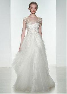 Glamorous Tulle & Polka Dot Tulle Jewel Neckline Natural Waistline A-line Wedding Dress With Handmade Flowers & Beadings