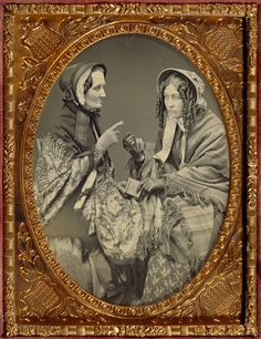 """Unknown maker, American  [Portrait of Two Actresses], about 1853 - 1855   Daguerreotype  8.9 x 6.4 cm (3 1/2 x 2 1/2 in.)  The J. Paul Getty Museum, Los Angeles"""