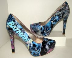Handmade Batman high heels on Etsy for $70! www.etsy.com/shop/custombykylee