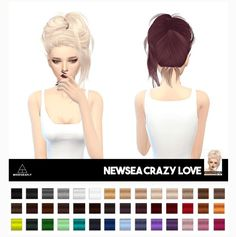 Miss Paraply: Newsea`s Crazy Love hair retextured  - Sims 4 Hairs - http://sims4hairs.com/miss-paraply-newseas-crazy-love-hair-retextured/