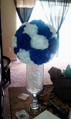 My DIY royal blue and white wedding centerpieces | Wedding ...