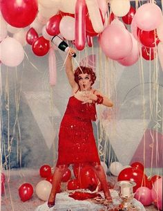 New Years Party with Red Balloons