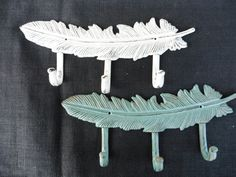 Beautiful FEATHER 3 Prong Wall Hooks  Teal Aqua by RusticBoardwalk