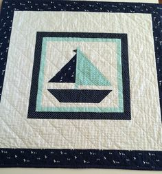 Nautical Baby Boy Quilt Sailboat Nautical by LittlebCottonShoppe