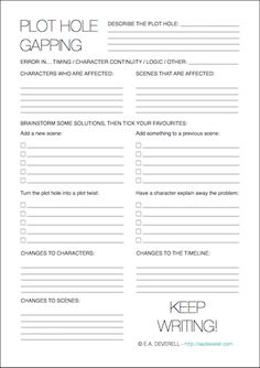 Writing Worksheet – Fixing Plot Holes (PDF) Plot holes are almost inevitable at some stage in any piece of longer writing, and in my experience, fixing them can be the most disheartening job of the writer. Print out this worksheet, pour yourself a drink and sit down to untangle those snags! Related