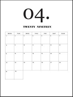 Modern Minimal April 2019 Calendar