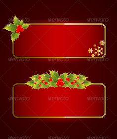 Christmas Blank Banners Set with Holly Berries
