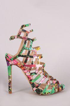 Liliana Floral Print Laser Cutout Peep Toe Stiletto Heel