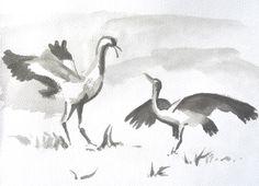 """""""Kraanvogels"""" oost indische inkt door Lida Meines"""