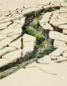 ABU DABI CREA UN PARQUE BAJO EL SUELO. Abu Dabi ha hallado la solución para construir un parque frondoso que supera los problemas de irrigación. Las autoridades han encargado a un estudio de arquitectura londinense un parque subterráneo de 12 hectáreas.