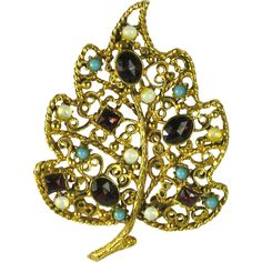 Vintage Florenza Leaf Pin Brooch  available in our shop, The Vintage Jewelry Boutique on Ruby Lane.  #vintage #vintagejewelry #florenza #rhinestones