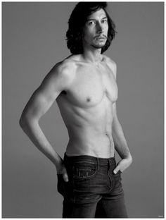 Adam Driver goes shirtless for a photo in a pair of denim jeans.