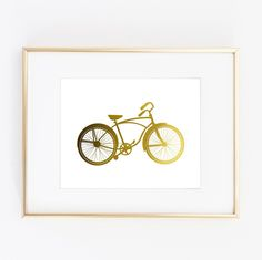 "Bike Bicycle Design Gold Foil Print Wall Art Home Decor poster 0468. ▲ Limited edition art print. ▲ These print is done with shiny gold finish. Printed on Beautiful Fine Paper. ▲Print Size: (8 x10"", 11""x14"" or 11""x17""). No frame or matting are included with purchase."
