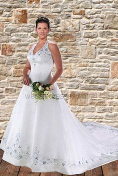 Fashion color halter top plus size wedding dresses chapel train embroidery - US$140.47 like the top
