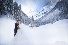 Beautiful wedding kiss in the mountains  | silversatsuma - Montreux, Switzerland Wedding Photographer | SnapKnot
