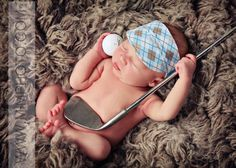Cute newborn golf picture.  One could simply change the props for their favorite sport.