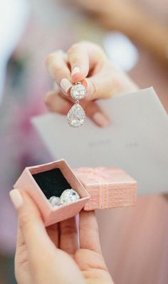 It's all in the details. Diamond earrings for the bride.