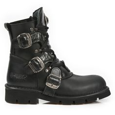 New Rock M.7604-S1 Noir Métallique Bracelet Gothique Bottes Western Métal Chaussures