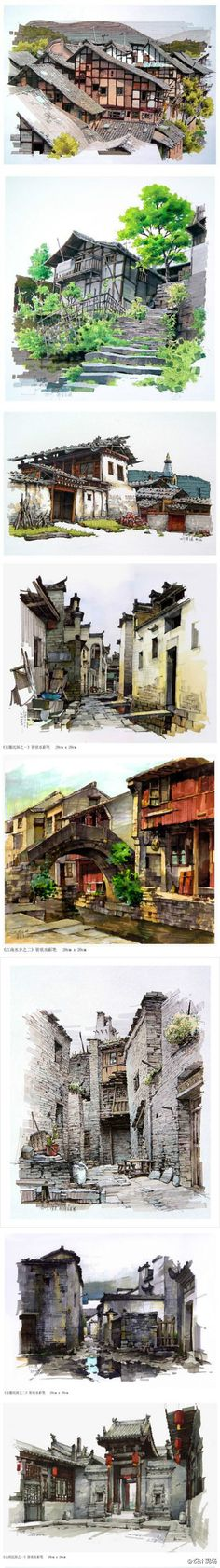 Fine Art Architectural Painting, Artist Study Resources for Art Students, CAPI ::: Create Art Portfolio Ideas at , Inspiration for Art School Portfolio Work, How to Paint Buildings and Architecture Watercolor Architecture, Architecture Drawings, Portfolio D'art, Sketch Painting, Watercolor Painting, Urban Sketching, Environment Design, Environmental Art, Photomontage