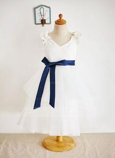 [US$ 59.99] Ball Gown Tea-length Flower Girl Dress - Satin/Tulle Sleeveless V-neck With Ruffles/Sash (010087931)