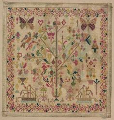 probablement norvégien (sampler) ~ Tree of Life with Butterflies and Ships