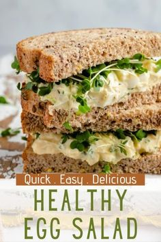 Classic egg salad is the comfort food of sandwiches and one of my favorite lunch options! This healthy egg salad is super simple to make with chopped boiled eggs, Greek yogurt (or whole food mayonnaise), fresh herbs and the perfect blend of seasonings. It turns out creamy and delicious every time! A quick and easy meal option that's wonderful served as a sandwich, in a tortilla wrap, with a side of crackers or in lettuce cups. Best Lunch Recipes, Healthy Low Carb Recipes, Egg Recipes, Whole Food Recipes, Vegetarian Recipes, Diet Recipes, Easy Salads, Easy Meals, Healthy Egg Salad