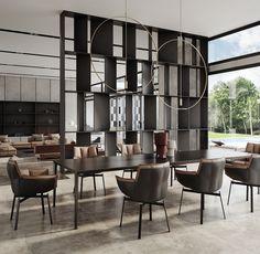 Villa in Sizilien Loft Interior, Home Interior Design, Interior Architecture, Exterior Design, Dining Room Sets, Dining Room Design, Dining Table, Wall Partition Design, Home Engineering