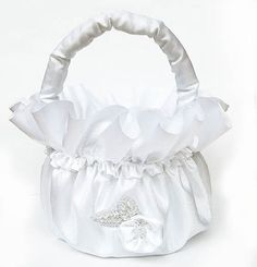 White Satin Flowergirl Basket with Beaded Applique and Satin Flower