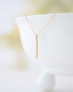 Gold Bar Necklace - Olive Yew