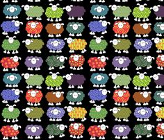 sheeps with eyes fabric by engelbam on Spoonflower - custom fabric