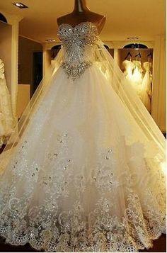Attractive beading Sweetheart lace-up watteau Train A-Line Wedding dress #dresswe