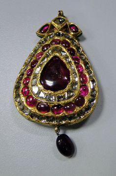 vintage antique old gold kundan meena pendant diamond ruby -8-382 on Etsy, $2,399.00