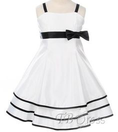 Beautiful Square A-line Tea-Length Bowknot Embellishing Flower Girl Dress instead of black I would chose a different color Cute Wedding Dress, Fall Wedding Dresses, Colored Wedding Dresses, Dream Wedding, Cheap Flower Girl Dresses, Girls Dresses, Flower Girls, First Communion Dresses, Satin Flowers