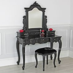 French Noir Black Painted Dressing Table Set With Stool