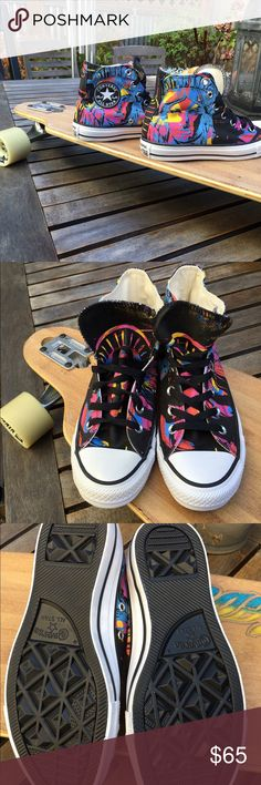 Andy Warhol Converse!! These fabulous high tops were created from a collaboration between Converse and the Andy Warhol Foundation!!!  Super vibrant pop of color!!! Converse Shoes Sneakers