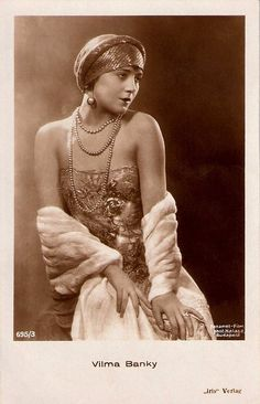 Vilma Banky, 1920s. Hungarian-born silent film star Vilma Bánky (1898-1991) filmed in Budapest, France, Austria, and Germany, before Sam Goldwyn took her to Hollywood. There she starred opposite great silent stars like Rudolph Valentino and Ronald Colman. She became Goldwyn's biggest money maker till sound finished her career.