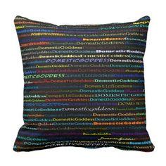 Domestic Goddess Text Design I Throw Pillow - home decor design art diy cyo custom