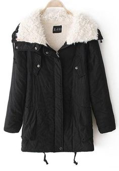 b404d534a4bf2 Black Drawstring Buttons Casual Thick Hooded Coat