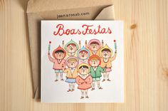 1 Christmas greeting card + 1 envelope // HAPPY HOLIDAYS // Kid's Choir by Joana Rosa Bragança