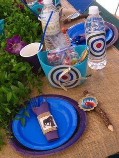 Love the branch pencils and gift baskets with the target and bow & arrow!