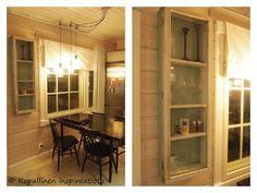 Kopallinen inspiraatiota - old window - recycle - vanha ikkuna - vitriini - vitrine - glass cabinet - showcase Old Windows, China Cabinet, Doors, House, Furniture, Home Decor, Corning Glass, Homemade Home Decor, Crockery Cabinet