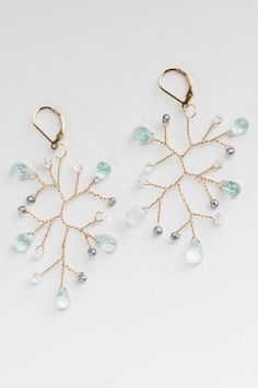 """""""Sparkling Sea"""" Aquamarine Branch Earrings, handcrafted gemstone earrings from the New Bloom Collection by J'Adorn Designs #aquamarine #aquamarineearrings #jadornyourlove Wire Jewelry, Jewelry Shop, Custom Jewelry, Bridal Jewelry, Jewelry Gifts, Fashion Jewelry, Jewelry Design, Jewelry Logo, Boho Jewelry"""
