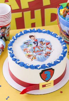 Host a PAW-some birthday party! Show off your cake decorating skills by making a PAW Patrol birthday cake featuring the pups on a PhotoCake Edible Cake Image from Cakes.com.