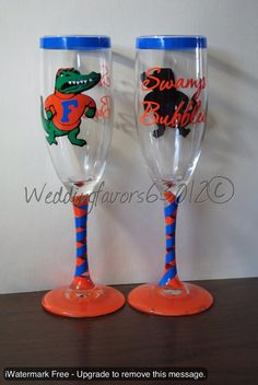 Personalized Florida Gator Champagne Glasses by WeddingFavors63012, $10.00
