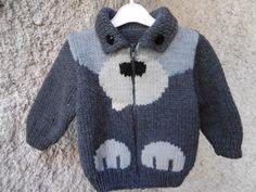 gilet bébé motif chien tricoté main