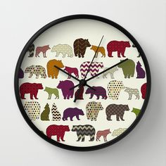 bear+wolf+geo+party+Wall+Clock+by+Sharon+Turner+-+$30.00