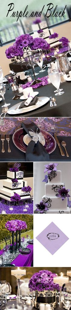 "For a fall or winter wedding, pairing purple with black offers a sophisticated combination. Working with black and purple takes a ""good eye"" because it can easily become garish. But the right shades and right amounts of each color can create a beautiful effect"