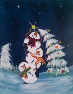 christmas art 40 Beautiful Christmas Painting Ideas to Try This Season - Bored Art Christmas Canvas, Christmas Art, Christmas Projects, Beautiful Christmas, Winter Christmas, Holiday Crafts, Christmas Decorations, Christmas Ornaments, Whimsical Christmas